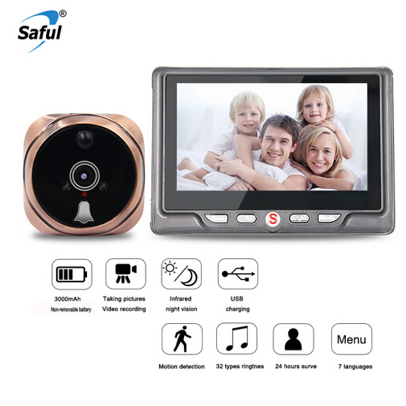 Saful Numérique Judas caméra vidéo sonnette Vidéo-Spectateur des yeux avec TF Carte Prenant la Photo Porte caméra masquée Moniteur pour La Maison