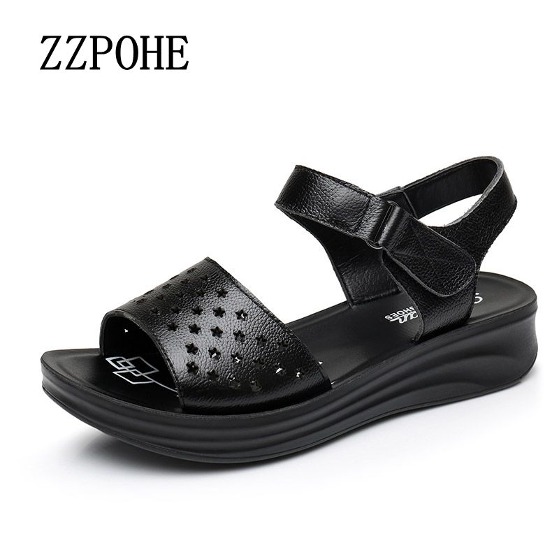 ZZPOHE 2017 Summer new mother leather sandals fashion slope with women's sandals soft middle-aged large size female sandals 41