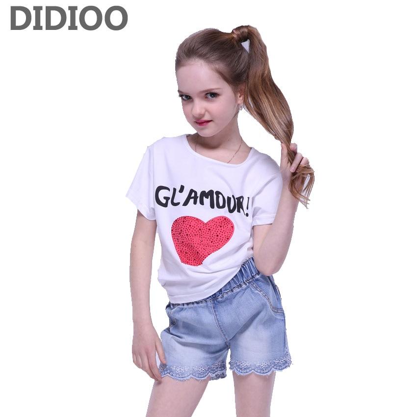 Kids Clothing Sets For Girls Short Sleeve Heart T-Shirts & Denim Shorts 2Pcs Summer Children Outfits Cotton Tees Girls Jeans 12