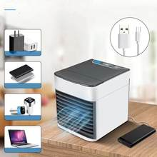 USB Mini Portable Air Conditioner Air Cooler Humidifier Purifier LED Light Personal Space Fan Auto Shutoff Timer 3 Wind Speeds(China)