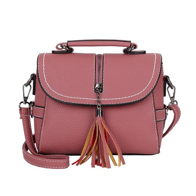 Designer de moda Zipper Mulheres De Luxo Ocasional Compras Cor Sólida Selvagem De Couro Borla Bolsa Messenger Bag # YL5