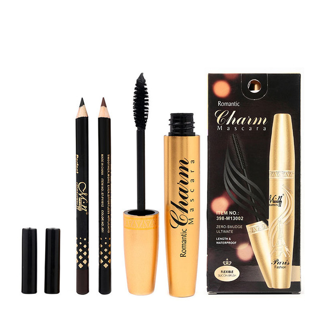 1a564c0b7ff 24sets=72pcs M.N. Menow Professional makeup Golden tubes thick mascara Set  With Gift Two Pencil black / brown Color M13002