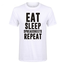 LUSLOS  This T Shirt is made of premium quality ring spun Cotton for a great soft Eat Sleep Spreadsheets Repeat