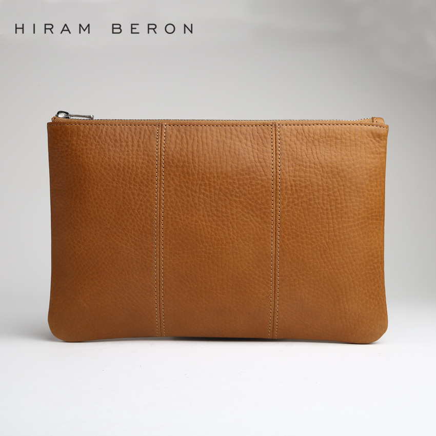 Hiram Beron Unisex Leather Purse For Men Women small briefcase Custom name Vegetable Tanned Leather Large Capacity bag