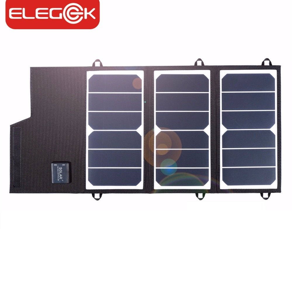 ELEGEEK 20W Solar Panel Charger Portable Foldable Dual USB Waterproof 2A Solar Panel Battery Charger Power Bank for Phone xinpuguang solar panel charger 100w 9v 18v foldable portable black fabric waterproof power bank phone 12v battery dual usb 5v 2a