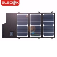 ELEGEEK 20W Solar Panel Charger Portable Foldable Dual USB Waterproof 2A Solar Panel Battery Charger Power Bank for Phone