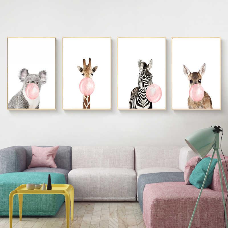 Cute Animal Nordic Canvas Painting Wall Art Home Decor Diy