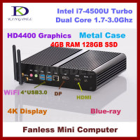 Mini PC i7 Smart Computer Intel Core i7 4500U(4M Cache, up to 3.00 GHz) 4G DDR3 Memory 128GB SSD Storage DP+HDMI dual display