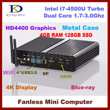 Мини-ПК i7 Smart компьютер Intel Core i7-4500U (4 м Кэш, до 3.00 ГГц) 4 г DDR3 память 128 ГБ хранения SSD DP + HDMI двойной дисплей