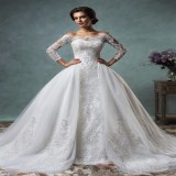 conew_2016 vintage lace wedding dresses off the shoulder long sleeve with tulle detachable bridal gowns covered buttons amelia sposa court train.1_conew2