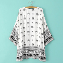 Kimono Cardigan Half Sleeve Loose Tops Elephant Print Cover up SF