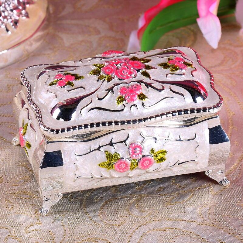 10.2X7.1X6.3CM Europe Painted jewelry box jewelry makeup storage box metal jewelry box desktop organizer for gifts Z085