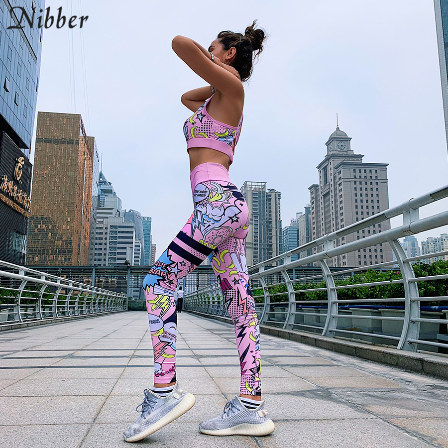 Nibber Summer Milk Silk Cartoon Fitness Wear 2two Pieces Sets 2019 Stretch Slim Jogging Sportswear Basic Crop Top Camis Leggings