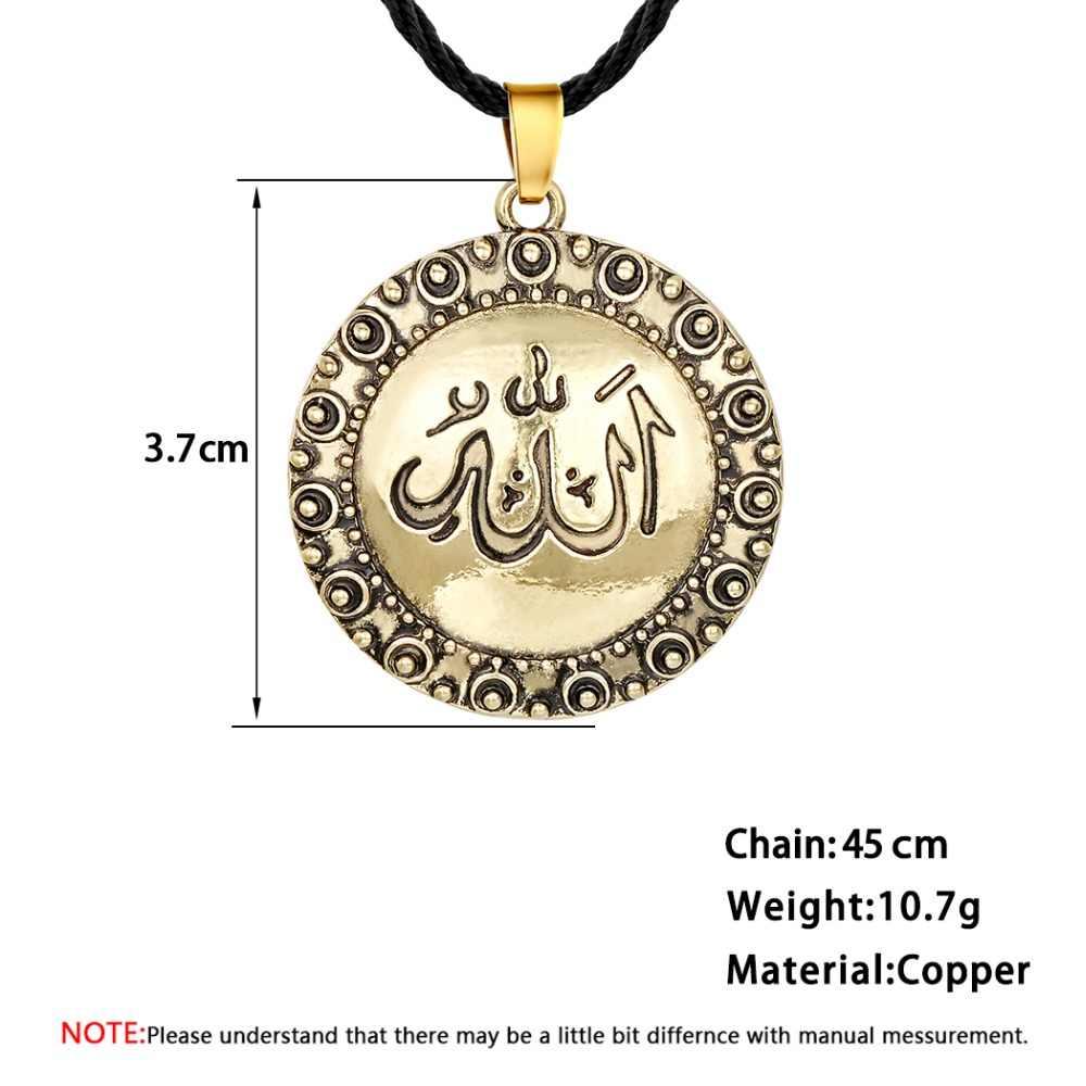 Chandler na sprzedaż w stylu Vintage srebrny Allah muzułmański naszyjnik z liny łańcuch sweter religijny okrągły wisiorek islamski Callars hurtownie