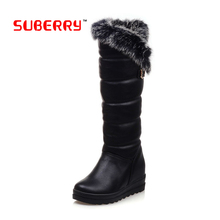 SUBERRY 2016 Winter Russia Keep Warm Snow Boots Women's Boots Buckle Stretch Long Over The Knee Boots Woman Red Booties Size 10