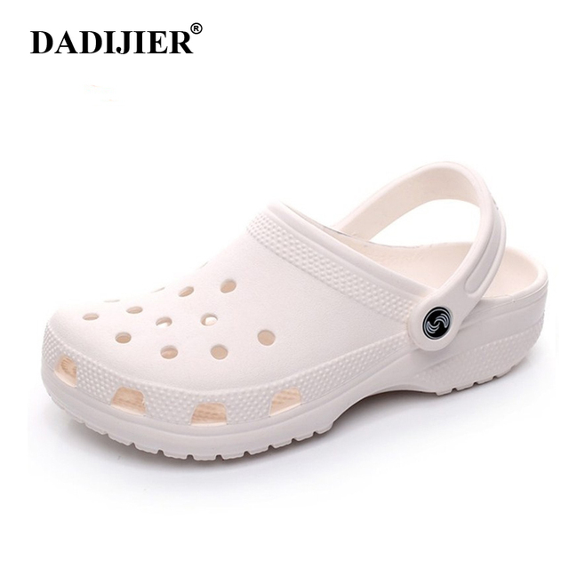 DADIJIER ใหม่ 2018 ผู้หญิงคลาสสิกรองเท้าแตะแฟชั่นการออกแบบ EVA croc แกะสลักผู้หญิงสไลด์ crocse แบนรองเท้าผ้าใบรองเท้าผ้าใบ Slipony ผู้หญิงชายหาดรองเท้า ST263