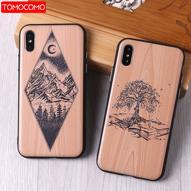 TOMOCOMO imitative Wood Cover For 6 7 7Plus 8 8Plus X XS Max 3D Relief Elephone Vintage Style Phone Cases Cover Capa Fundas