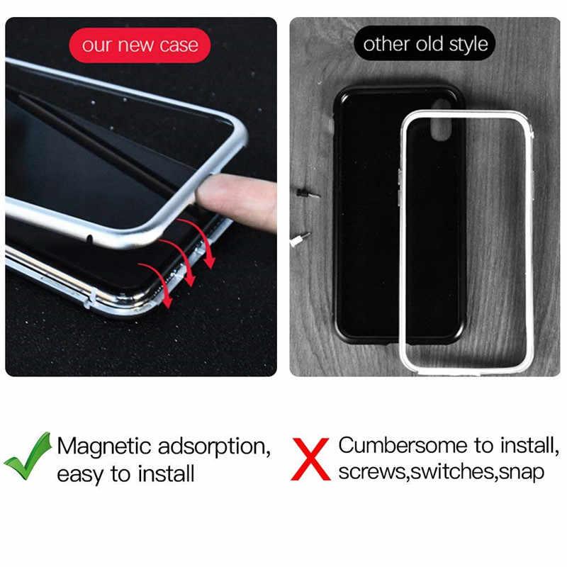 الترا سليم المغناطيسي الامتزاز Bunper حالة ل أبل فون X 7 8 زائد الألومنيوم سبائك كوكه الزجاج المقسى المدمج في المغناطيس غطاء