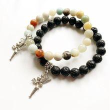 Natural Black Lava Rock Stones Amazonite Round Beads Bracelet Tibetan Silver Metal Fairy Angel Wings Pendant Stretch