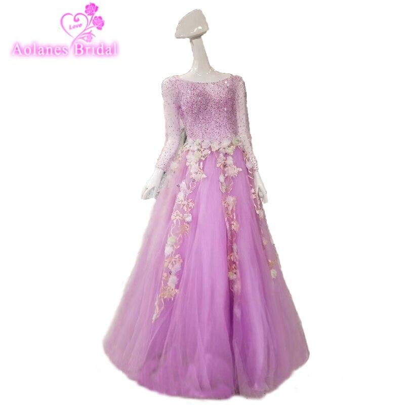 Vente chaude de haute qualité lilas violet dentelle Sexy à manches longues étage longueur Discount robes de bal femmes robe de soirée 2018 nouveau Style