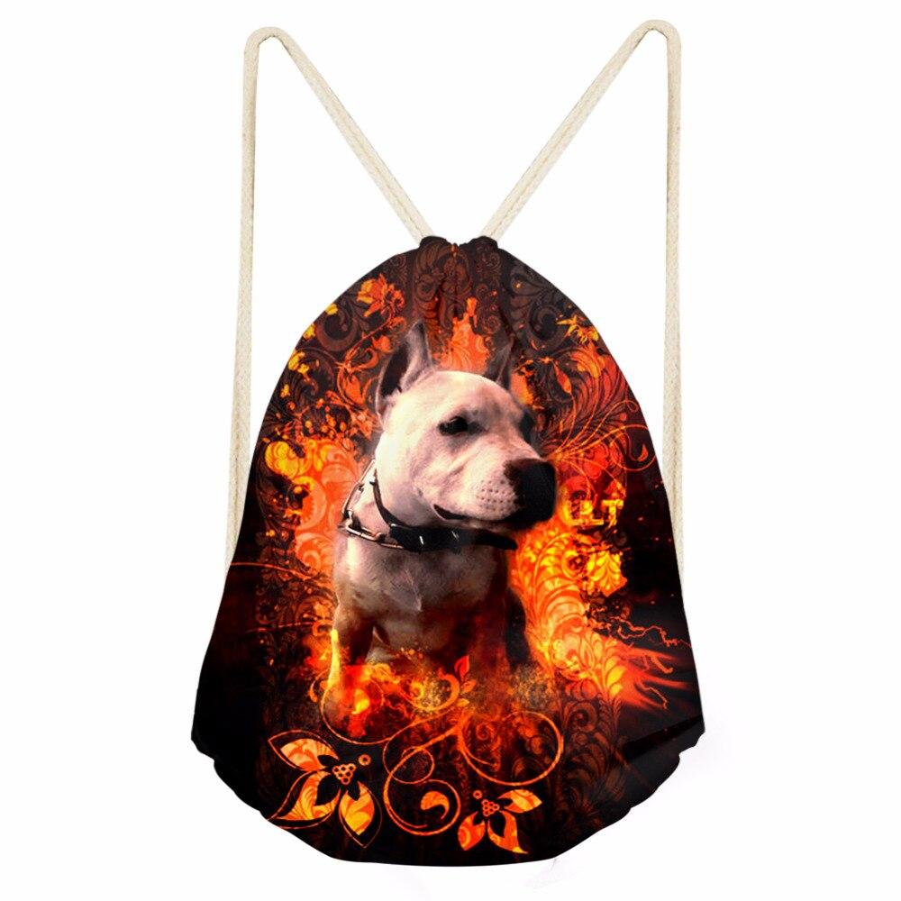 ThiKin 3D Pitbull Dog Printed Girls Drawstring Bag Kids Drawstring Bags Men Package Backpack Drawstring Storage