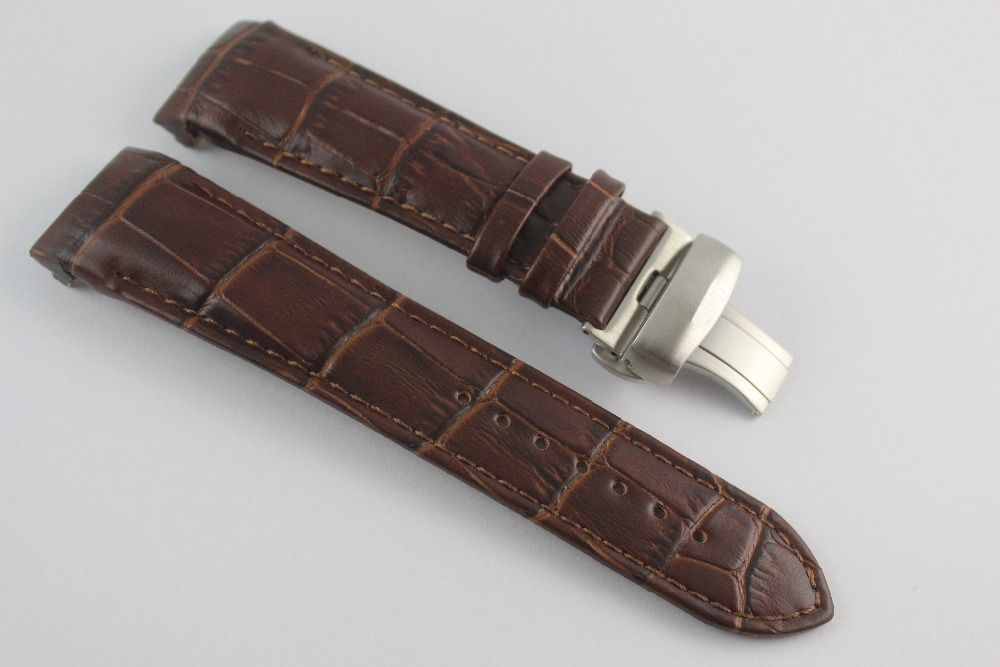 23mm (Buckle 20mm) T035617A T035439 High Quality Silver Butterfly Buckle + Brown Genuine Leather curved end Watchband For T035