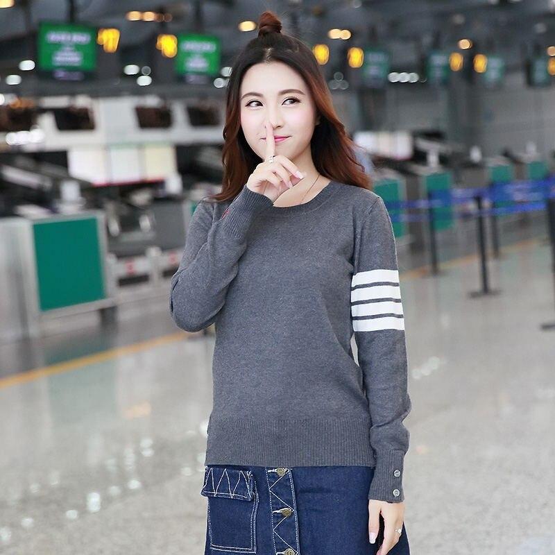 Offre spéciale manches longues printemps automne laine chandails TB Style tout nouveau femmes hommes tricoté cachemire chandail haut tendance S-XXL