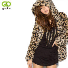GOPLUS 2017 Lady Faux Fur Coat Winter Leopard Fur Jacket Hooded Fur Outerwear Coat Women Warm Fake Fur Coat Casaco De Pele Falso