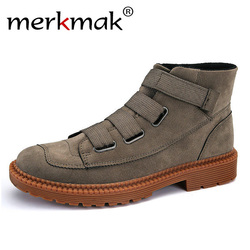 Merkmak 2018 New Men Ankle Boots High Top Men Casual Boots Fashion Winter Autumn Warm Fur Male Shoes Man Outdoor Footwear