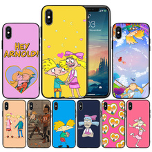 Hey Arnold Black Silicone Phone Case for iPhone 7 8 XS Max XR X 6 6S 5 5C 5S SE Plus 7Plus 8Plus 6Plus 6sPlus Back Cover Couqe robot style protective plastic silicone back case for iphone 5c blue black