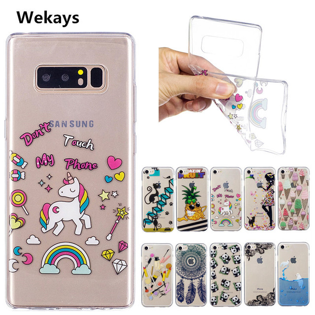 wholesale dealer cf00e da0a7 US $1.77 11% OFF|For Samsung Note8 Cute Cartoon Girl Ice cream Unicorn TPU  Soft Fundas Case For Samsung Galaxy Note 8 Note8 Case Cover Capa Coque-in  ...