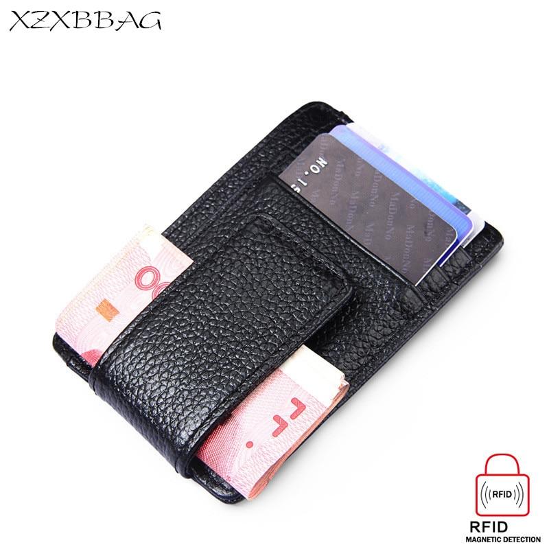 e17702ad9 XZXBBAG de cuero genuino Clips del dinero Unisex bolso de la tarjeta Mini  cartera hombres mujeres Vintage dólares billete titular efectivo Clip RFID  XB085