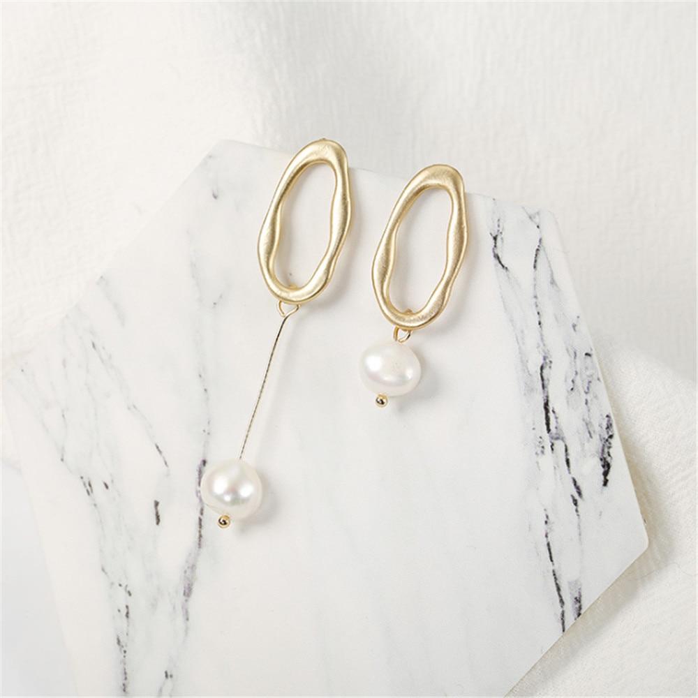 ECODAY Asymmetrical Metal Pearl Earrings for Women Gold Color Drop Earrings Oorbellen Pendientes Mujer Brincos Aretes 2019 in Drop Earrings from Jewelry Accessories