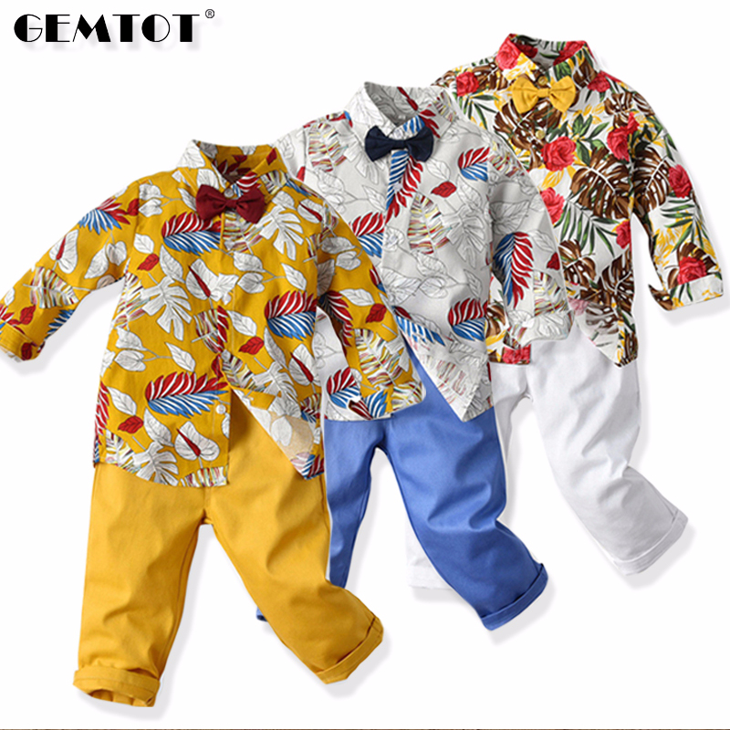 GEMTOT Cool Boys Clothing Sets 2017 Autumn Kids Sport Suit Full Sleeves Blouse + Camouflage Pants Suits Kids Tracksuits k1