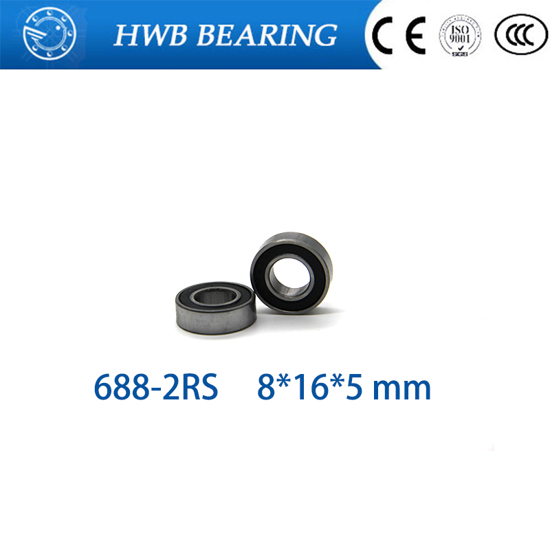 free shipping 10pcs <font><b>688</b></font>-2RS 8*16*5 mm <font><b>688</b></font> <font><b>rs</b></font> 688rs The Rubber sealing cove Thin wall deep groove ball bearings image