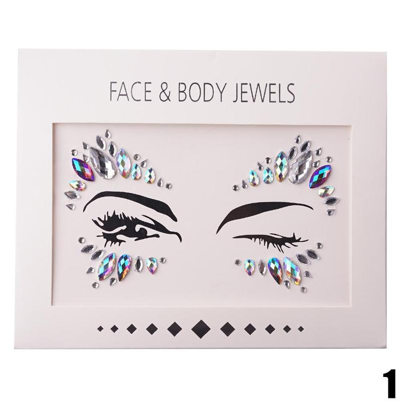 Temporary Face Stickers Easy To Operate Face Gems Rhinestone Temporary Tattoo Fashion Diy Face Stickers Party Body Glitter Stick twelve gems