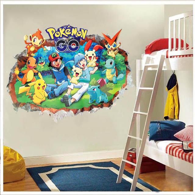 US $3 08 33% OFF|3d Pokemon Go through wall stickers for kids room  Charmander Bulbasaur Squirtle Mewtwochild wall decals cartoon Pikachu  posters-in