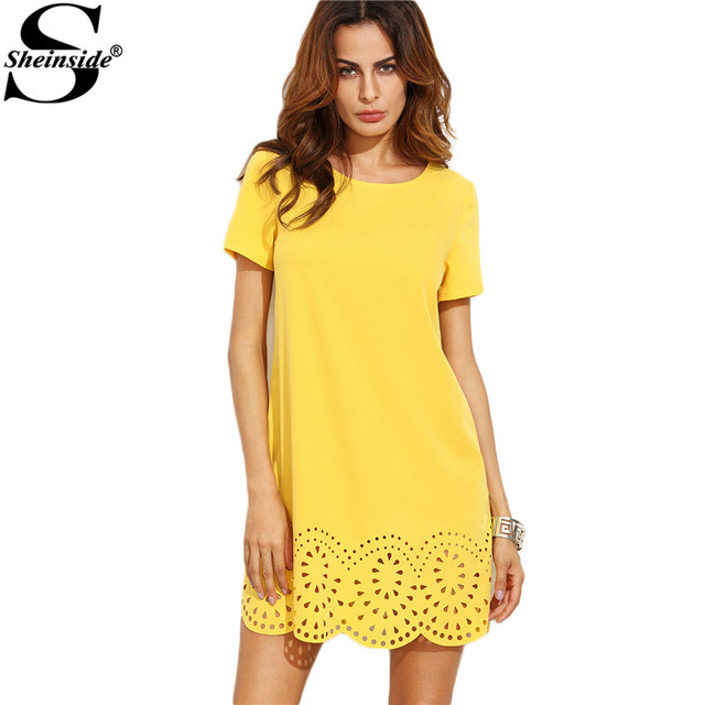 871005b707d4 Sheinside Designer Dresses for Women Mini Dresses Fall Fashion Shift Dress  Yellow Short Sleeve Hollow Hem