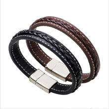 Simple Real Leather Braclet Punk Style Titanium Steel Bracelet For Men Best Gift(China)