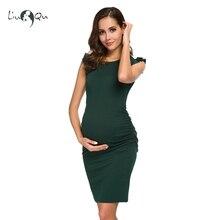 Czarna kokardka na boku Ruched sukienka ciążowa elegancka dziecięca obcisła sukienka Mama letnie sukienki typu wrap ubrania ciążowe Vestido