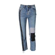 2018 New brand runway women sprint summer high zipper ankle-length jeans pencil pants(China)