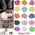 Мягкие силиконовые колпачки Nicrew для кошачьих ногтей, 20 шт., красочные колпачки для кошачьих лап, защитные колпачки для кошачьих ногтей, прин...
