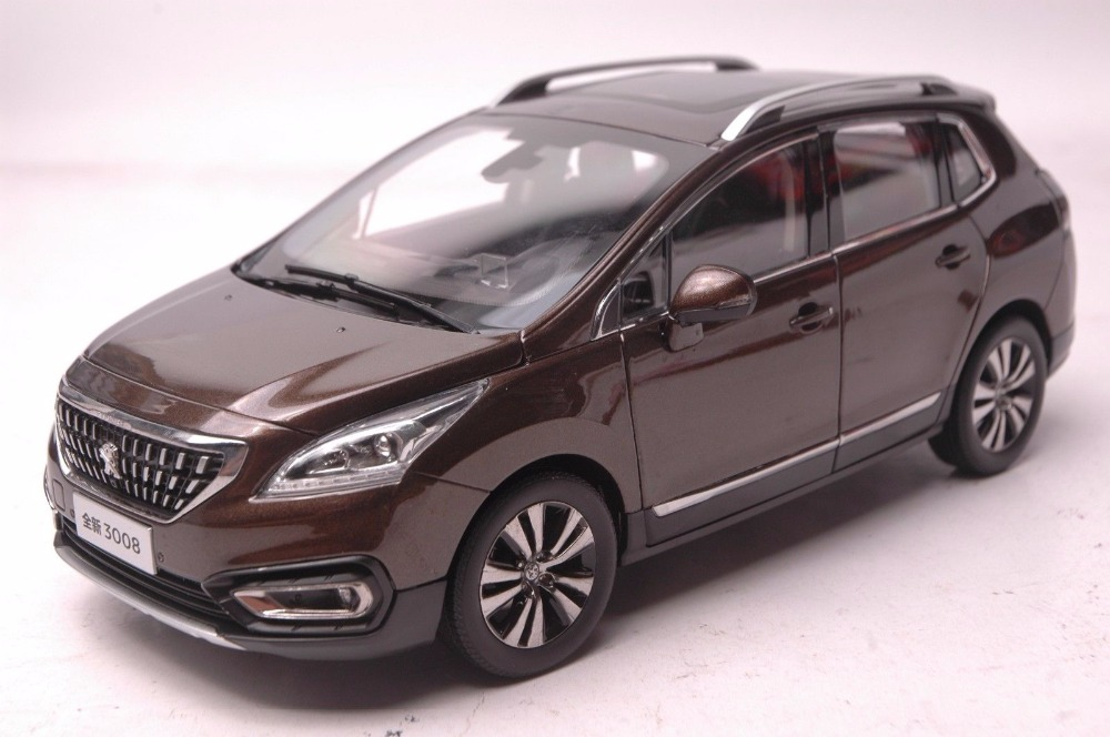 1:18 Diecast Model for Peugeot 3008 2016 Brown SUV Alloy Toy Car Miniature Collection Gift 1 18 vw volkswagen teramont suv diecast metal suv car model toy gift hobby collection silver