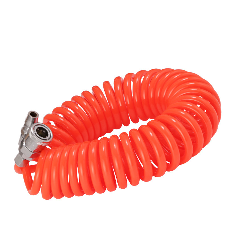 pneumatic spring pipe PU air hose high pressure hose with quick couple 9M 10X6.5mm color random to ship high quality 15mt pneumatic hose with 5 8 quick couplin spring trachea quick coupler air toube