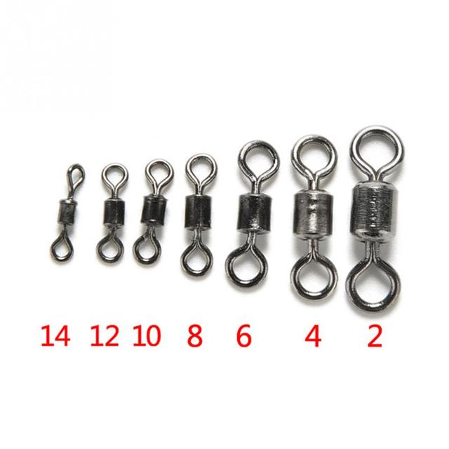 100PCS/Lot Fishing Connector Ball Bearing Swivel Rolling Swivel Stainless Steel Fishhook Lure Tackle 2# 4# 6# 8# 10# 12# 14#
