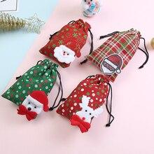 1 шт., детский подарок на Рождество/конфеты, сумка на шнурке, сумка Санта-Клауса, Детская сумка для монет, карман для денег, клатч на шнурке