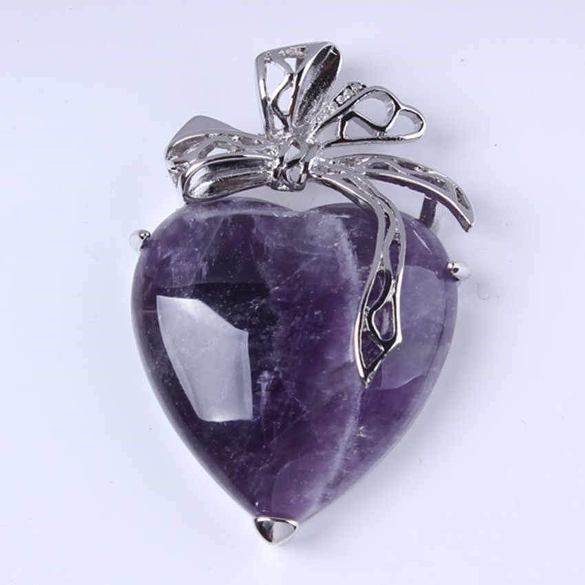 100-Unique 1 Pcs Elegant Silver Plated Natural Purple Amethysts Heart Shape Pendant Charm Jewelry For Lovers