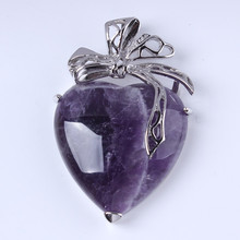 все цены на Wholesale 10Pcs Charm Silver Plated amethyst Heart Shape Stone Pendant Jewelry For Necklace онлайн