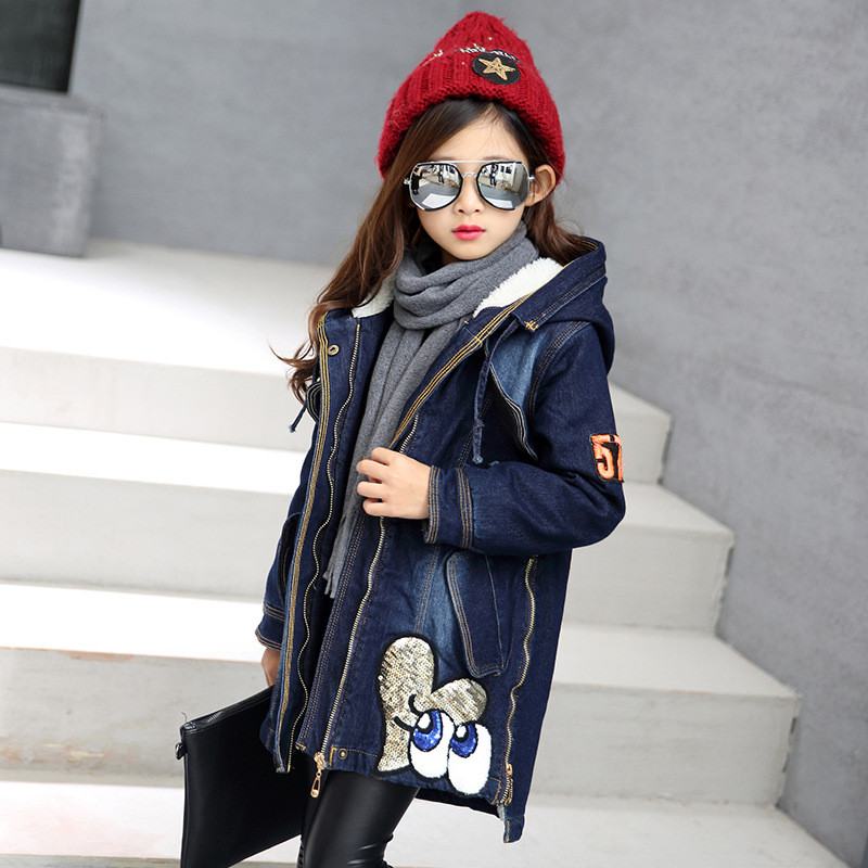 Fashion Girls Winter Coats Gaueey Blue Baby Girls Autumn Jacket Sequins Kids Jackets For Girls Denim Coats Warm Children Outwear toros madrid