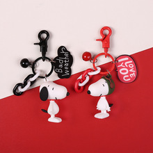 2018 Anime Figure Dog Keychain Hand-painted Craft Bull Terrier PVC Vinyl Animal Trinkets for Car